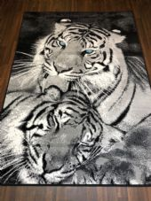 Modern Approx 8x5 160x230cm Woven Backed Black/GreysTop Quality Tigers Blue Eyes